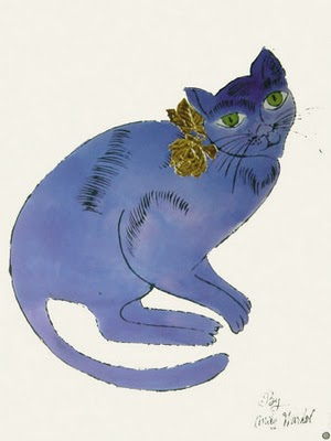 Andy Warhol, Blue Sam with a Rose, katze, katzen, chat