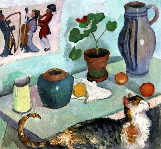 Spirit of the House, Still Life with Cat, August Macke 1910