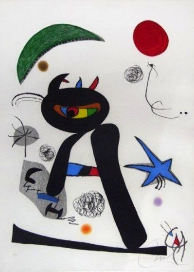 Barbare Dans La Neige 1976 by Joan Miro, cat art
