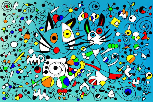 Joan Miro, Dancing Cats