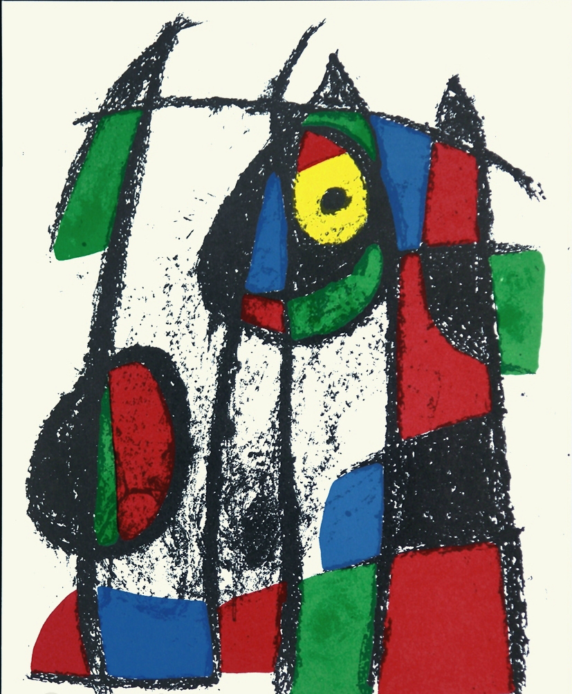 Joan Miro Neugieriges Katzenkind, Curious Cat, 1975