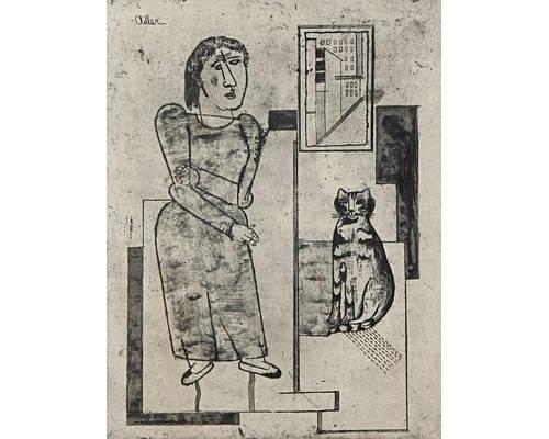 Woman and Sitting Cat, Jankel Adler