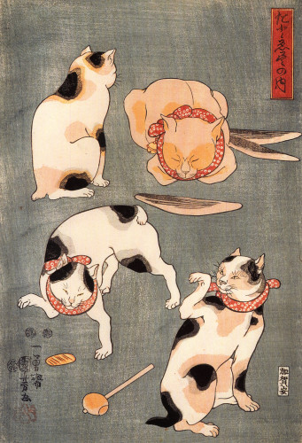 Kuniyoshi Utagawa Four Cats in Different Poses, Cats in Asian Art, Japanese cat art