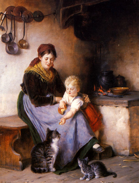Rudolf Epp, Mother and Child Feeding the Cat