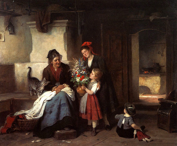 Rudolf Epp, Visit to Grandmother's, cats in art
