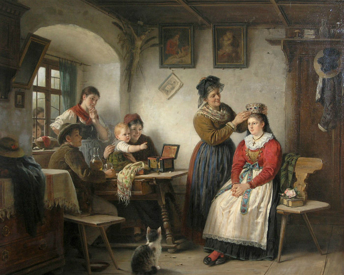 Rudolf Epp, Wearing the Crown-Brautschmueckung, cats in art