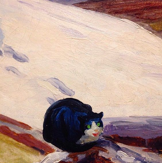 Detail, Backyard Greenwich Village, John Sloan, cat art