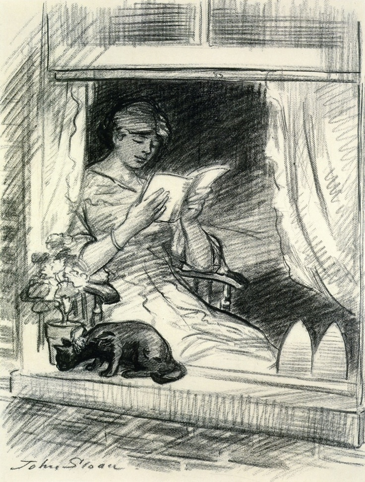 John French Sloan - The effect is spoiled (1913-1915) Woman and Cat