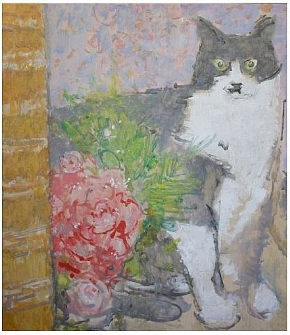 Cat With Roses Ruskin Spear (British, 1911–1990) Oil on board