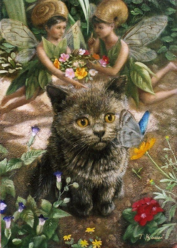 Fairy in Garden, 2006 Tokuhiro Kawai cat art