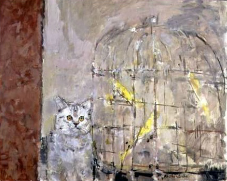 Ruskin Spear, Cat and Canaries