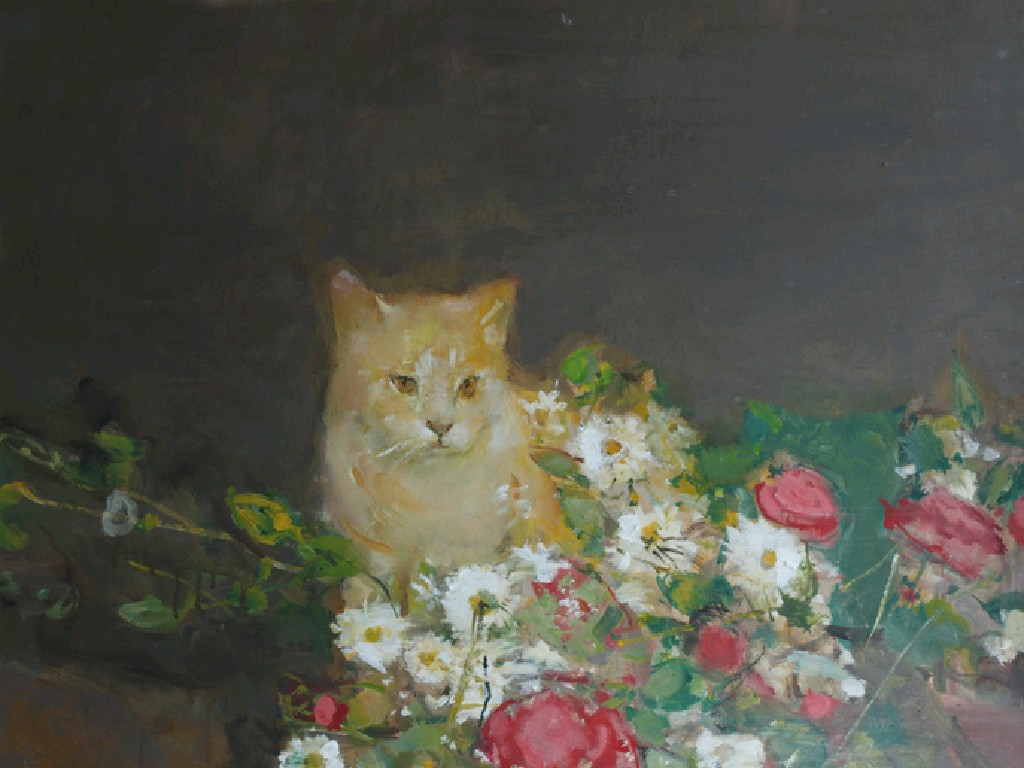 Ruskin Spear, Cat and Flowers