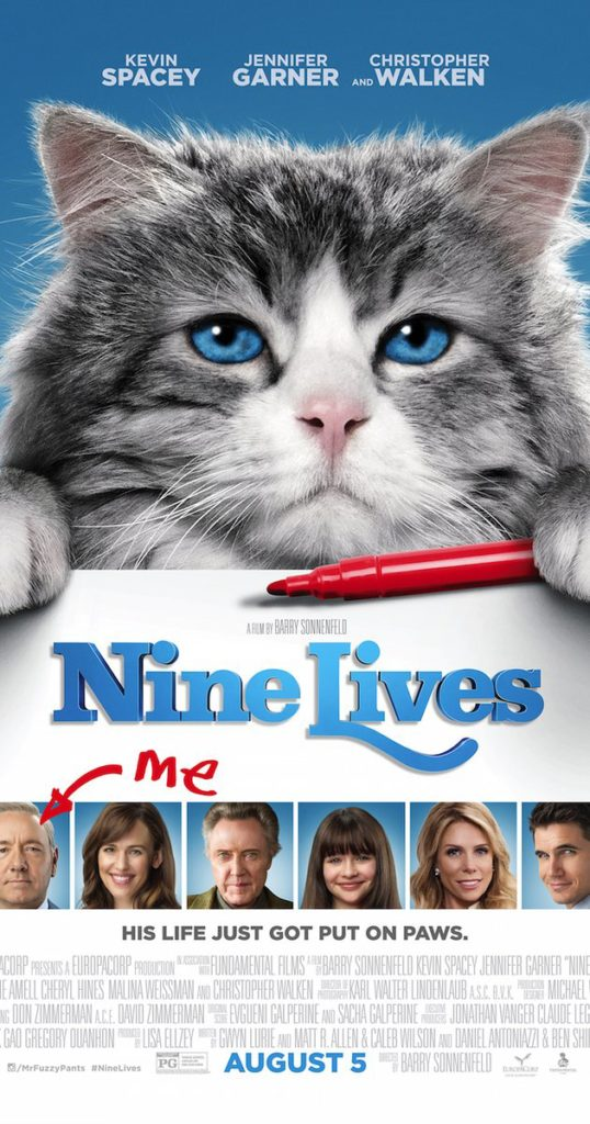Cats in Film -- Nine Lives (2016) Kevin Spacey, Christopher Walken and cat, cat movie