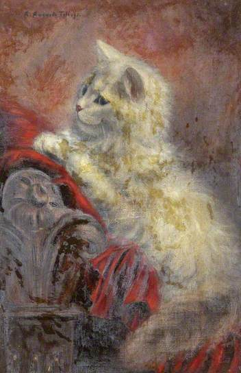 A Study of a White Kitten on a Red Blanket, Agnes Augusta Talboys