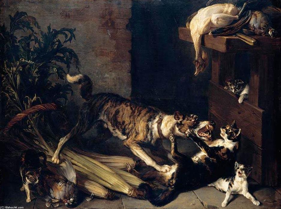 Alexandre Francois Desportes, A Cat and Dog Fighting in a Kitchen