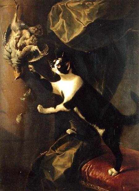 Alexandre Francois Desportes, Cat Reaching for Chicken, 1743