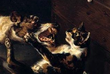 Alexandre Francois Desportes, Detail, Cat and Dog Fighting in Kitchen Interior