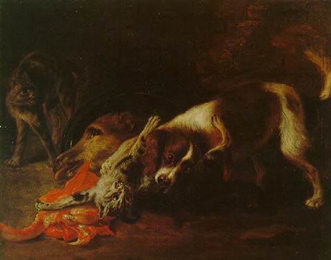 Alexandre Francois Desportes Spaniel Attacking Two Cats