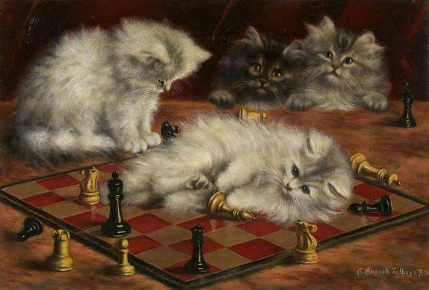 Cats and Chess Board by Agnes Augusta Talboys Oil on canvas, 31.7 x 47 cm Collection Bristol Museum and Art Gallery