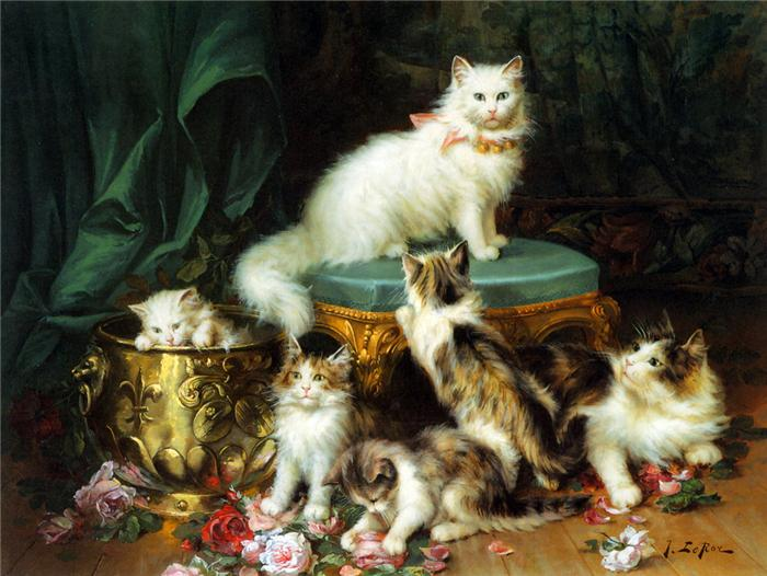 Jules Le Roy, Kittens and Flowers