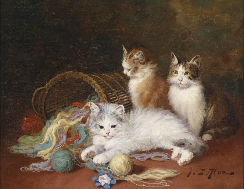 Jules Le Roy, Three Kittens Playing with Yarn
