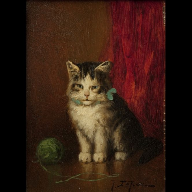 Jules Le Roy. Chat au ruban bleu et la pelote de laine verte (Cat with Blue Ribbon and Green Ball of Wool Yarn)
