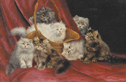Seven kittens and a basket, Agnes Augusta Talboys