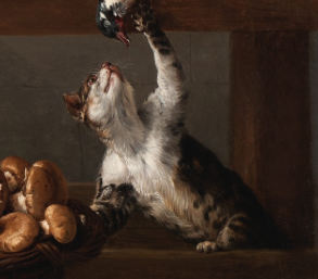 Still Life with a Cat, detail Alexandre Francois Desportes