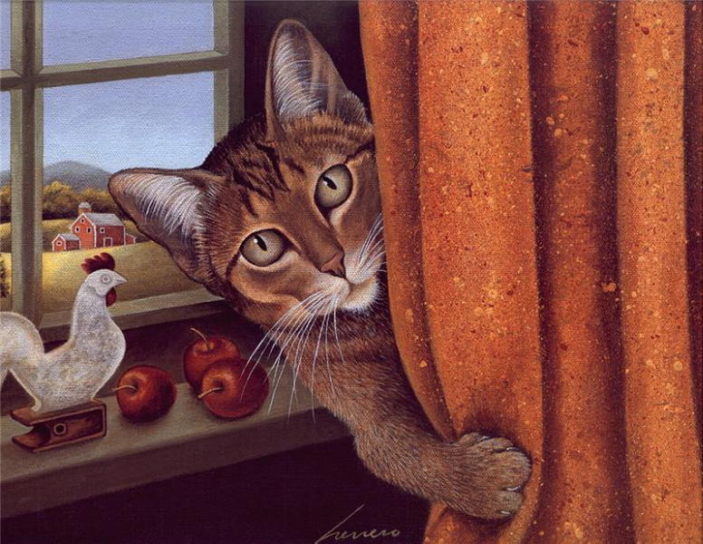 Cat Behind the Curtain, Lowell Herrero