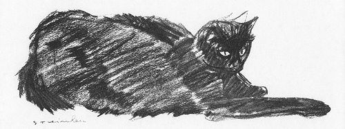 Black Cat Stretched Out, Theophile Steinlen