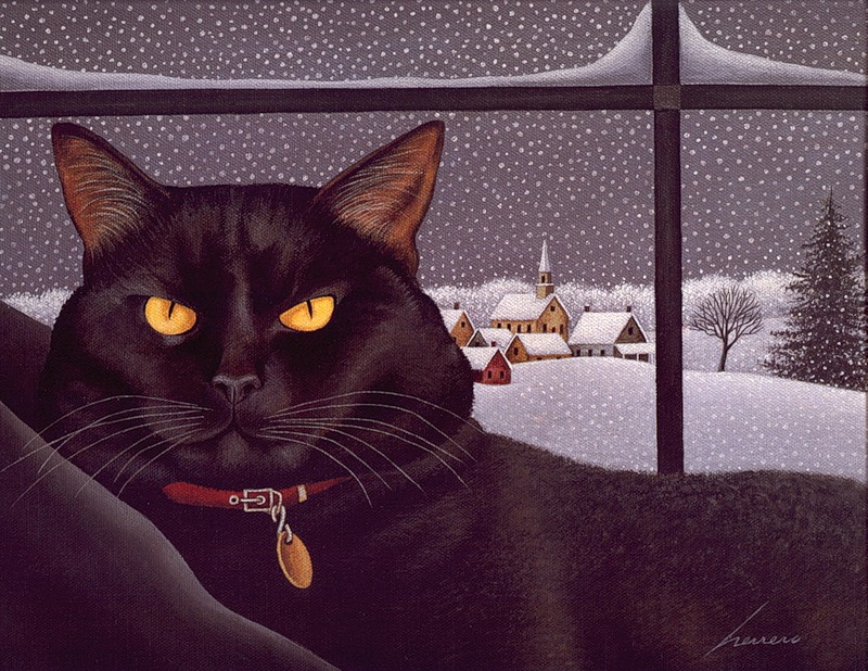 Black Cat on a Snowy Day, Lowell Herrero