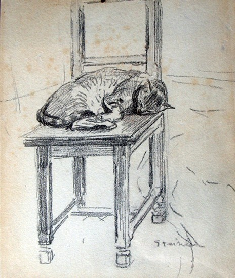 Cat Sleeping on a Chair, Theophile Steinlen