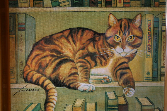 Cat and Books, Lowell Herrero