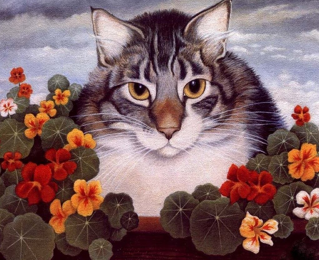 Cat and Flowers, Lowell Herrero