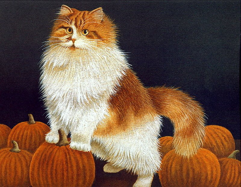 Cat and Pumpkins, Lowell Herrero