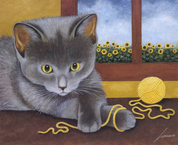 Kitten Playing with Yarn, Lowell Herrero