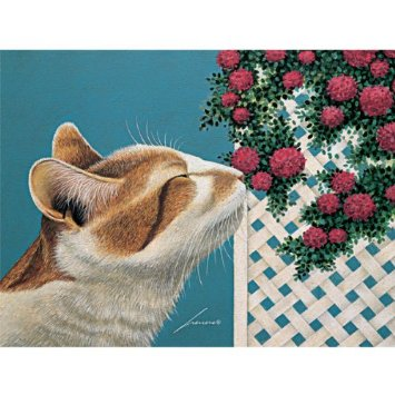 Lowell Herrero, Cat Sniffing the Flowers
