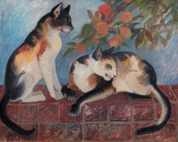 Orovida Camille Pissarro - Cats, 1959 Oil on canvas.