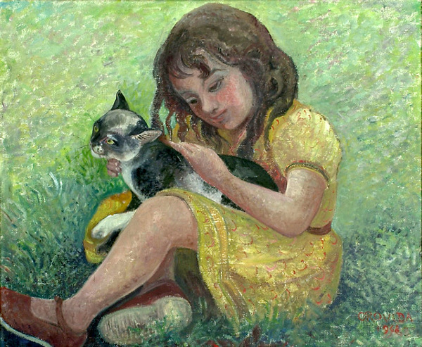 Orovida Pissarro, Little Girl with a Cat, 1948