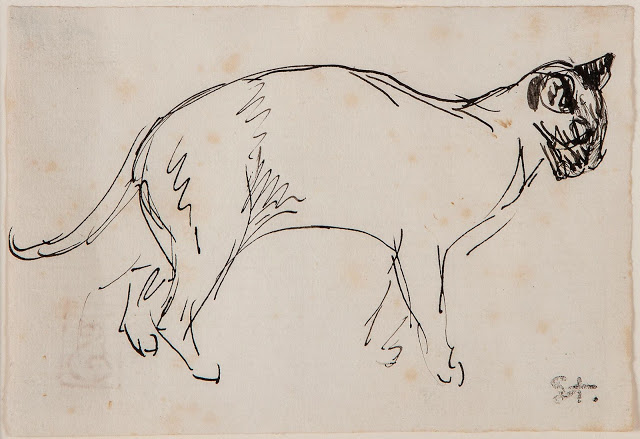 Théophile Alexandre Steinlen (1859-1923) Study of a Cat Walking to the Right pen and ink 11 x 16 cm Private Collection
