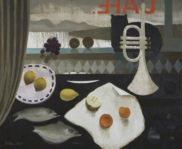 Black Cat Café by Mary Fedden Date painted 1996 Oil on canvas, 76 x 91 cm Collection University of Bath