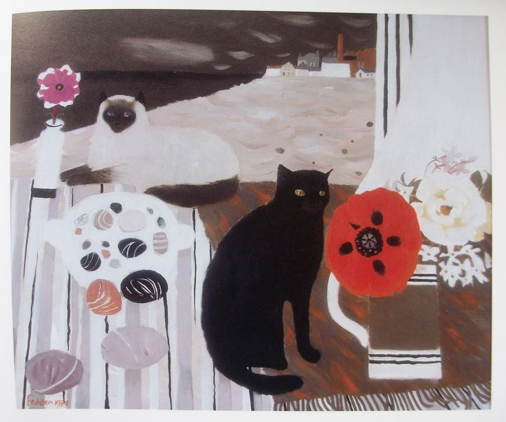Black Cat and Red Poppy, Mary Fedden