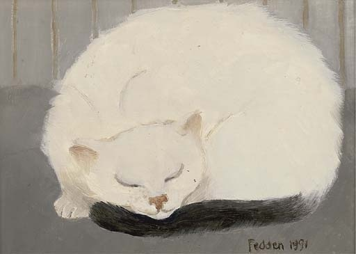 Sleeping White Cat, Mary Fedden