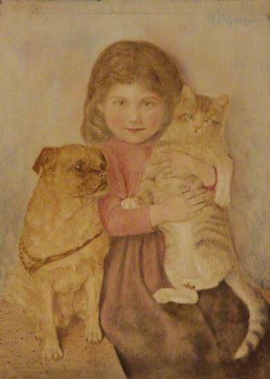 Child with Pet Cat and Dog by Wilhelm Schwar 1898