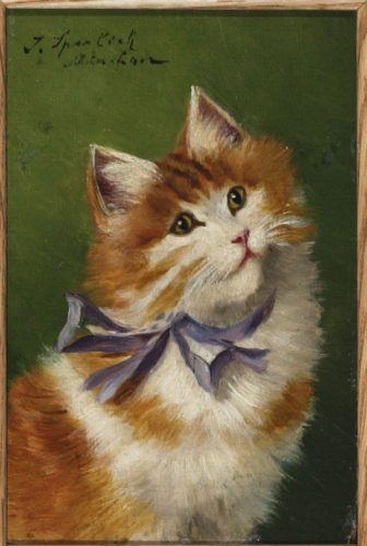 Sophie Sperlich Cat with Purple Ribbon