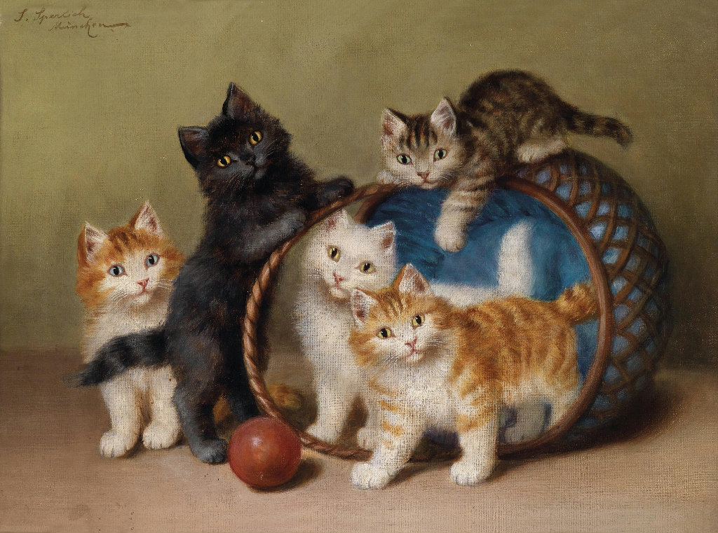 Sophie Sperlich Five Kittens and a Ball