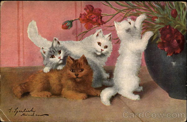 Sophie Sperlich, Four Kittens and Flowers, postcard
