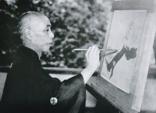 Takeuchi Seiho photo painting at easel