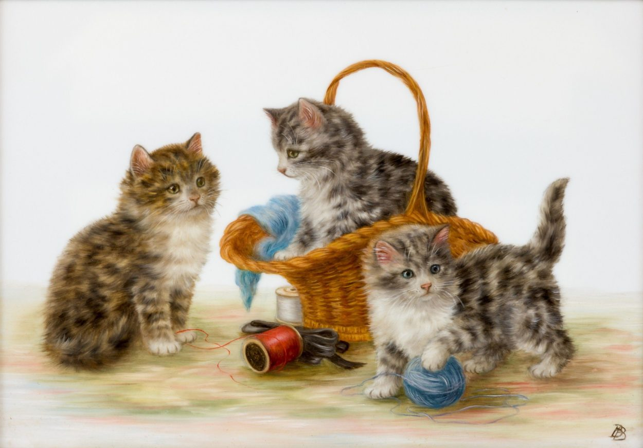 Three Kittens Playing with Sewing, Bessie Bamber