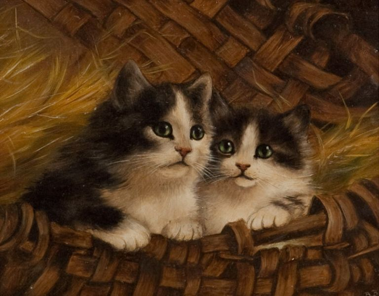 Two Kittens in a Basket, Bessie Bamber